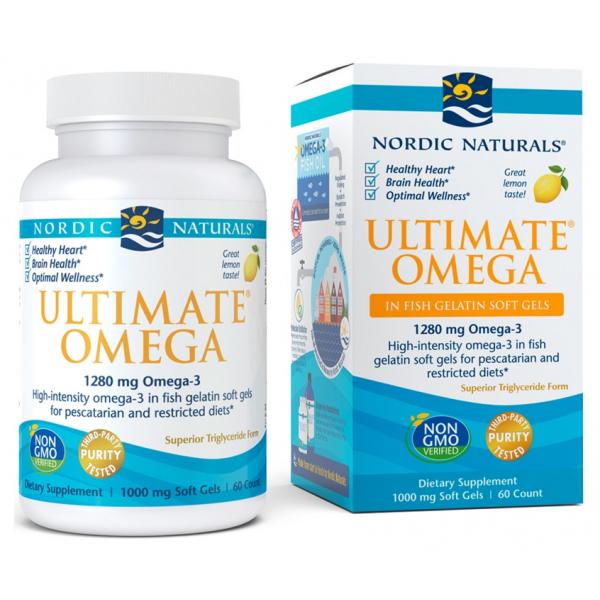 Ultimate Omega, 1280mg Lemon - 60 fish gelatin softgels