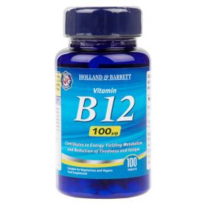 Vitamin B12, 100mcg - 100 tablets
