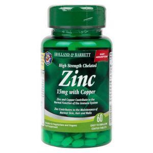 High Strength Chelated Zinc 15mg with Copper - 60 tablets