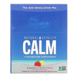 Natural Calm Packs, Raspberry-Lemon - 30 x 3.3g